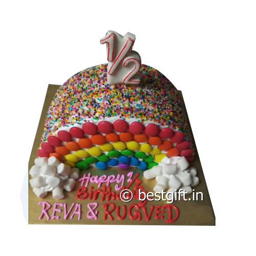 Fantastic Half Birthday Cake Online Delivery Auromirra Patisserie Personalised Birthday Cards Veneteletsinfo