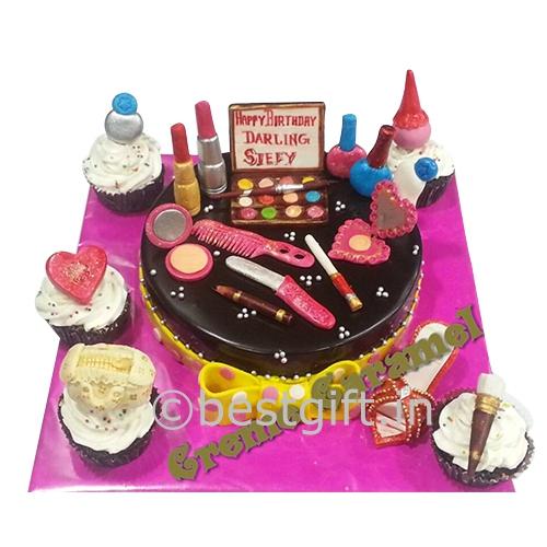 Customized Makeup Kit Cake   Online delivery   Creme Caramel   Kolkata - bestgift.in