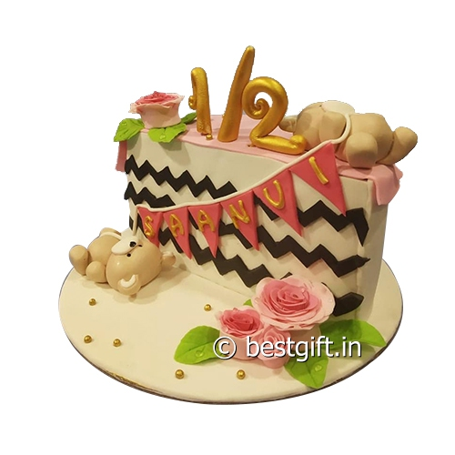 Prime Half Birthday Cake Online Delivery Firangi Halwai Mumbai Personalised Birthday Cards Veneteletsinfo